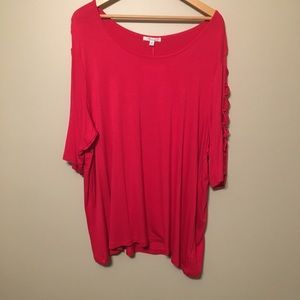 89th & Madison Pink Tunic with Peek a Boo sleeves
